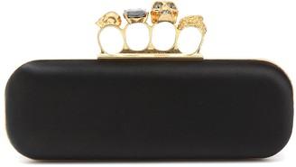 Alexander McQueen Four-Ring satin clutch