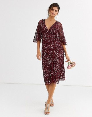 Maya Bridesmaid delicate sequin wrap midi dress wine