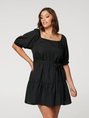 Forever New Shona Curve Square-Neck Smock Dress - Black - 16