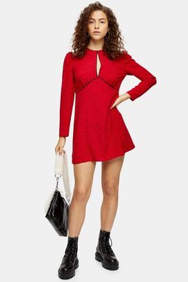 Topshop Womens Petite Piped Keyhole Mini Dress - Red