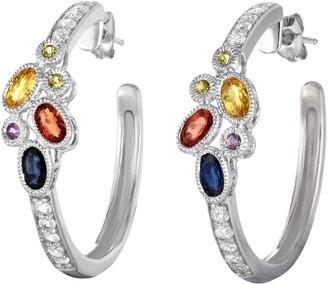 Sterling 3.00 cttw Sapphire Hoop Earrings