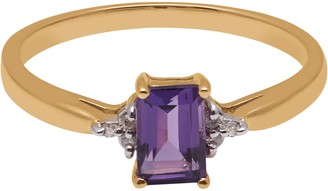 A B Davis 9ct Yellow Gold Baguette Amethyst and Diamond Shoulder Cocktail Ring