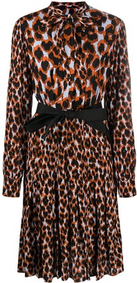 Golden Goose Pleated Leopard Print Dress