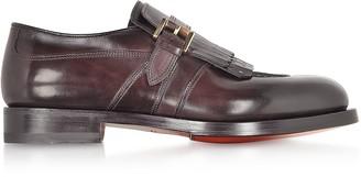 Santoni Burgundy Fringed Single Buckle Loafer Shoes