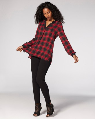 Vince Camuto Tartan Split-neck Top
