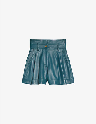 Sandro Jude high-rise leather shorts