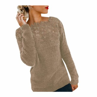 TOPEREUR Women Ladies Stitched Lace Jumpers Long Sleeves Off The Shoulder Sweater Flully Patchwork Solid Color Pullover Top Blouse Coffee