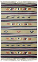 Novica Handcrafted Wool 'Singular Beauty' Dhurrie Rug 4x6 (India)