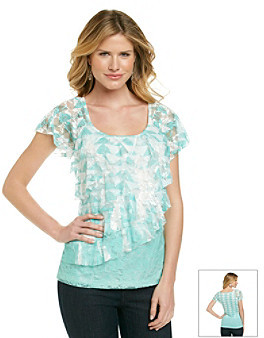 Amy Byer Short Sleeve Lace Diagonal Tiered Printed Knit Top