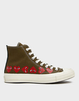 Comme des Garcons Men's Play Converse Chuck Taylor High Multi Heart Sneaker in Khaki, Size US 8 | Cotton/Rubber