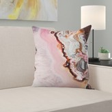 """Pink Agate Throw Pillow East Urban Home Size: 14"""" H x 14"""" W x 1.5"""" D"""