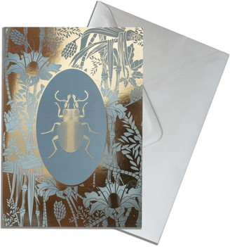 The Curious Department Elemental Beetle Gold Greeting Cards Pack of 10