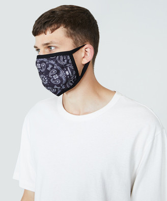 Standard Fitted Paisley Face Mask Black/White