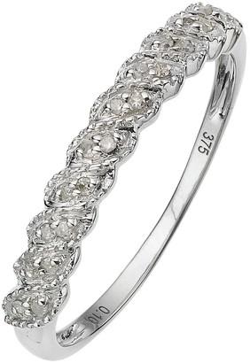 Love Diamond 9 Carat White Gold Diamond Half Eternity Ring