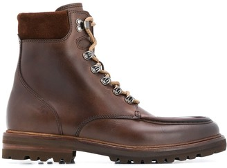 Brunello Cucinelli Round-Toe Lace-Up Boots