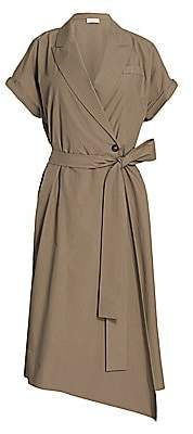 Brunello Cucinelli Women's Monili-Tab Sleeve Belted Wrap Dress