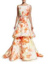 Christian Siriano Sleeveless Vintage Floral Belted Gown, Citrus