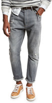 Brunello Cucinelli Leisure-Fit Distressed Denim Jeans, Gray