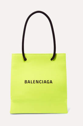 Balenciaga Xxs Printed Neon Textured-leather Tote - Green