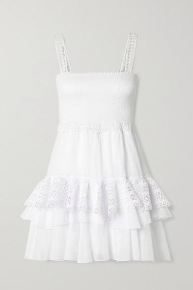 Charo Ruiz Ibiza Celina Crochet-trimmed Ruffled Cotton-blend Voile Mini Dress - White