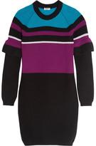 Kenzo Color-block Ribbed Wool Mini Dress - Black