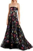 Jason Wu Floral-Printed Silk Organza Strapless Evening Gown