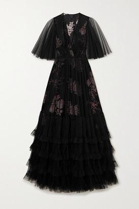 Giambattista Valli Layered Tiered Tulle And Silk Gown - Black