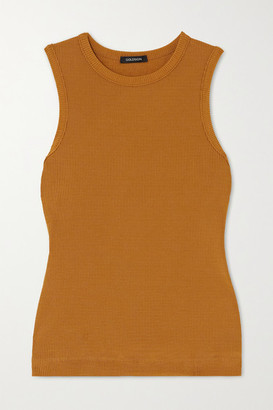 Gold Sign Net Sustain Ribbed Stretch-jersey Tank - Mustard