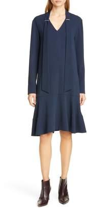Tibi Savannah Tie Neck Long Sleeve Dress