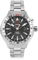 Timex 3-GMT Silver Tone Stainless Steel Men's Bracelet Watch