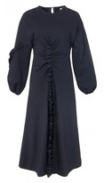 Tibi Bond Stretch Knit Ruffle Long Dress