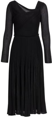 St. John Pleated Drape Sheath Dress
