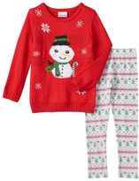 Little Lass Girls 4-6x Snowman Sweater & Leggings Set
