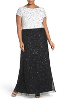 Adrianna Papell Mock Two-Piece Sequin A-Line Gown (Multiple Sizes Available)