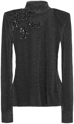 Christopher Kane Embellished Metallic Knitted Top