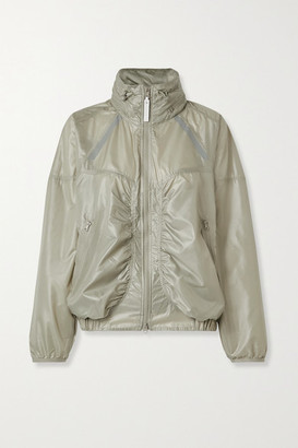 adidas by Stella McCartney Oversized Hooded Gathered Shell Jacket - Gray
