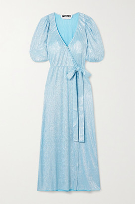 Rotate by Birger Christensen Frida Metallic Textured-jersey Wrap Dress - Sky blue