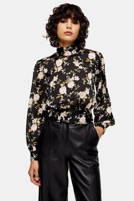 Topshop Womens Tall Black Floral Print Split Tie Back Blouse - Black