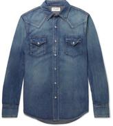 Saint Laurent Slim-fit Washed-denim Western Shirt - Blue