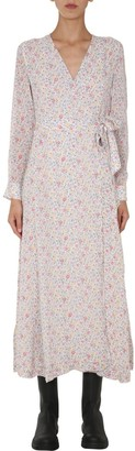 Ganni Floral Printed Georgette Wrap Dress