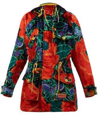 M Missoni Floral-print Padded Upcycled-velvet Hooded Parka - Red Multi