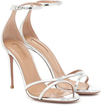 Aquazzura Purist 105 metallic leather sandals