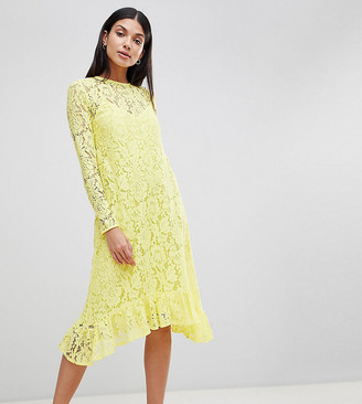 ASOS DESIGN Tall Lace Midi Swing Dress With Ruffle Hem