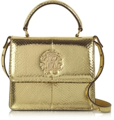 Roberto Cavalli Golden Laminated Ayers Top Handle Satchel