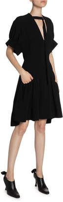 Proenza Schouler Crepe Buckle-Neck Fit-&-Flare Dress