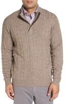 Peter Millar Men's Cable Knit Wool Blend Quarter Zip Sweater
