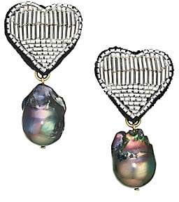 Lizzie Fortunato Women's French Heart Goldplated, Freshwater Pearl & Beaded Clip-On Drop Earrings