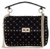 Valentino Garavani Rockstud Spike Velvet Shoulder Bag - Black