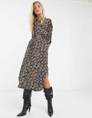 Topshop midi shirt dress in mutli