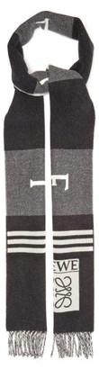 Loewe Football Logo-jacquard Wool-blend Scarf - Black